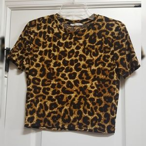 Zara ribbed leopard print crop top